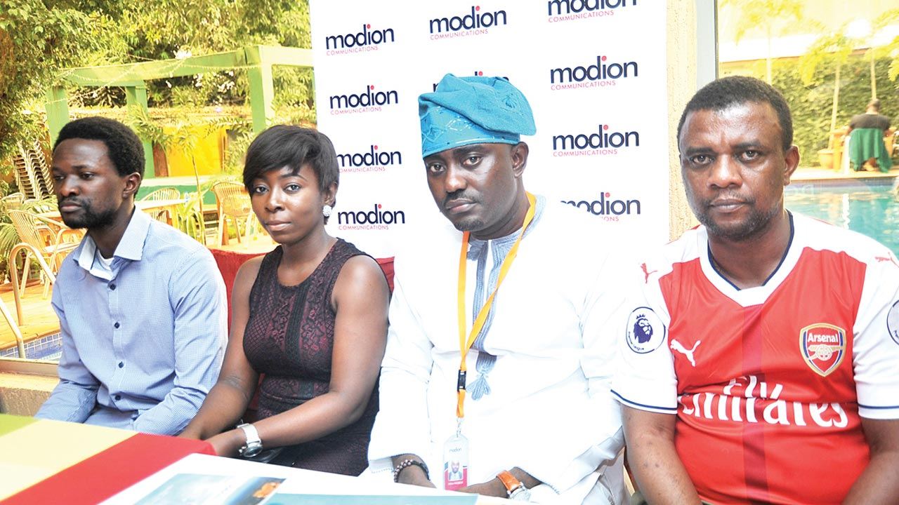 Digital Engagement Manager, Modion Communications, Baba Bukari; PR and Event Management Executive, Modion Communications, Sade Omololu; Chief Executive Officer, Modion Communications, Odion Aleobua and President, Brand Journalists Association of Nigeria, Goddie Efose during a media parley… in Lagos