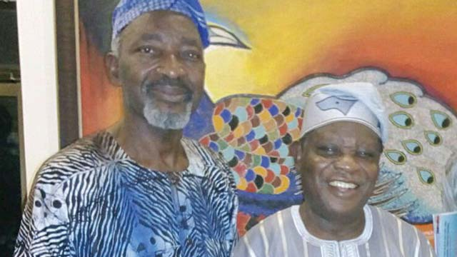 Chiefs Muraina Oyelami (left) and Jimoh Buraimoh ... at the Abuja show on Tuesday.