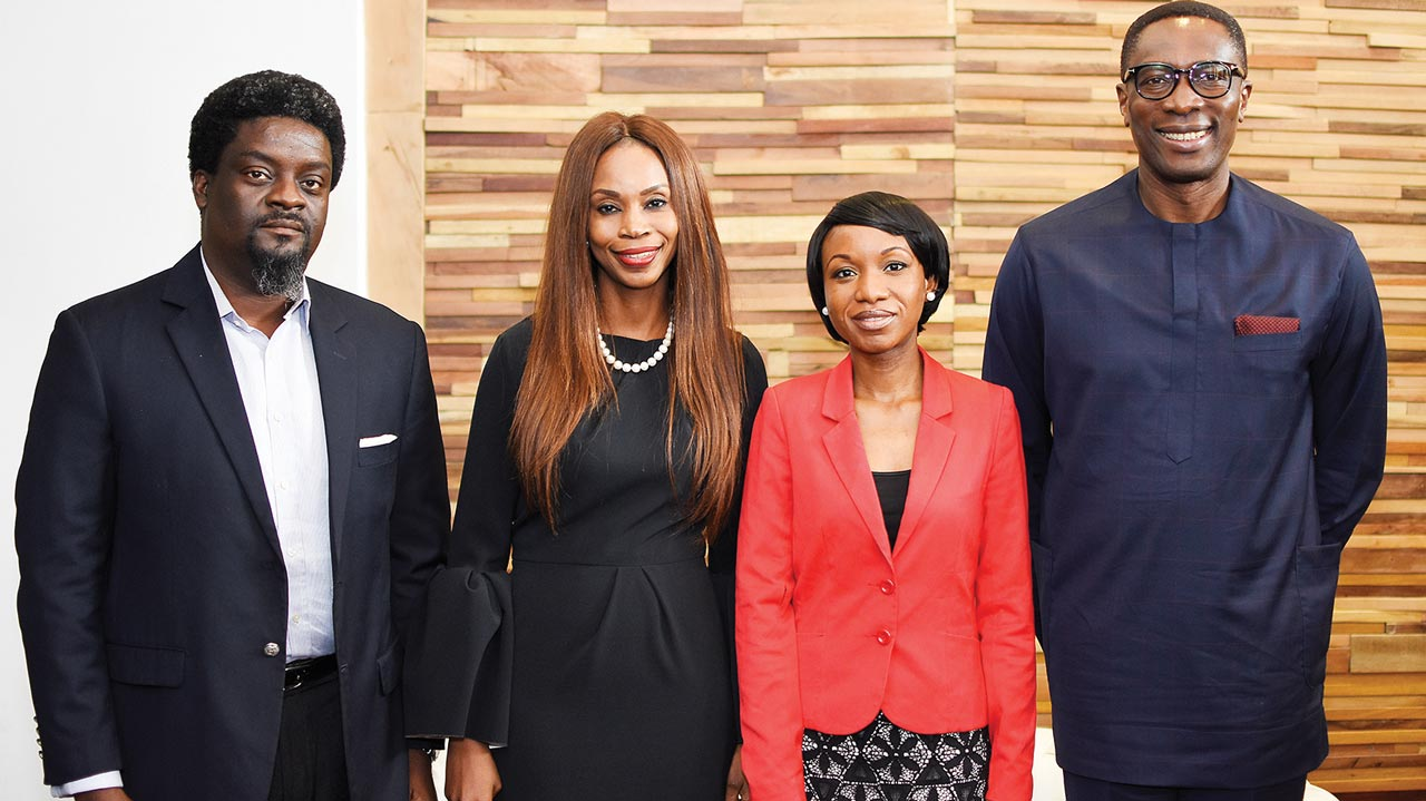 Pastor, This Present House, Del Balogun (left); Executive Director, My Lagos Diaries, Mrs. Adeola Bali; Coordinating Manager, Freedom Foundation, Sola Bello and Chairman, Board of Trustees, Freedom Foundation, Dr. Tony Rapu at the media screening of 'My Lagos Diaries' held at Filmhouse Imax, Lekki Phase 1, Lagos on Thursday