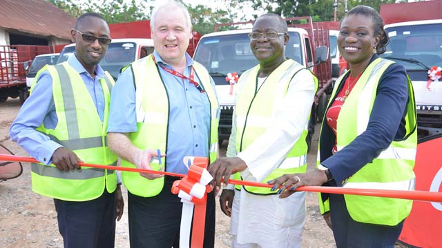 Commercial Excellence Director for Nigerian Bottling Company Limited (NBC) Kenneth Kamulegeya, Supply Chain Director, NBC, Danny Collins, Managing Director, Josjane Investments Joseph Koleoso, and Chief Financial Officer, NBC, Seun Oni, at the handing over of trucks to NBC Distribution Partners, in Abeokuta, Ogun State