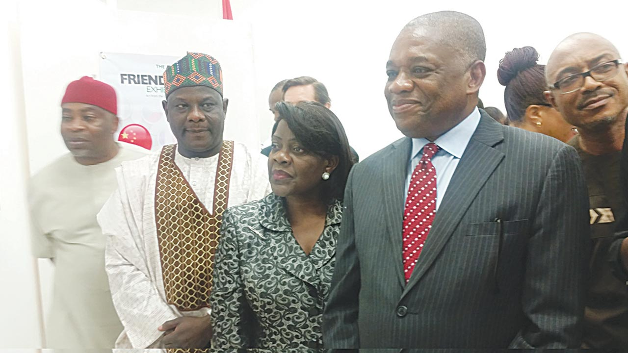 Former governor of Abia State, Chief Orji Uzor Kalu, and other dignitaries at the Art Of Friendship exhibition held at Abuja.