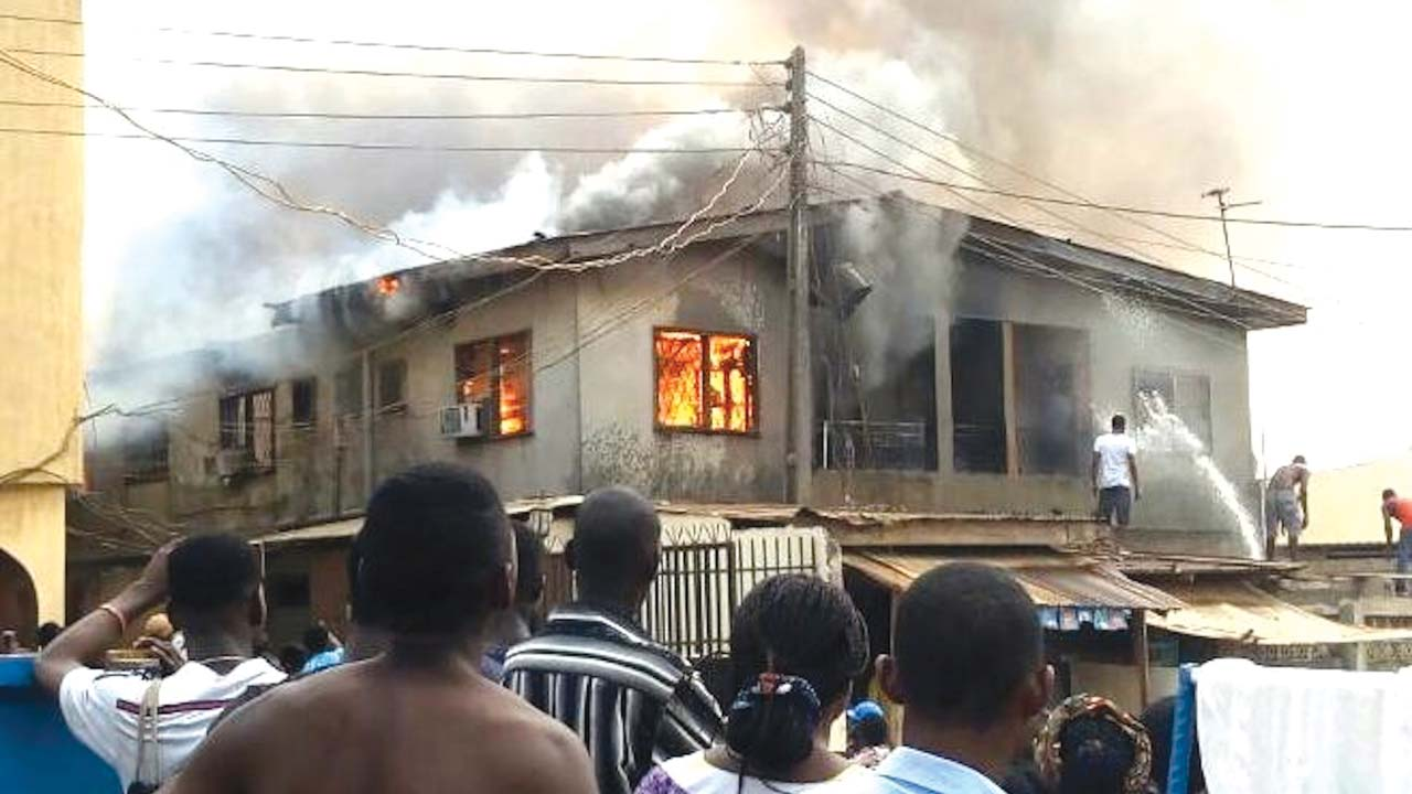 The house which was gutted in Ogba... yesterday.