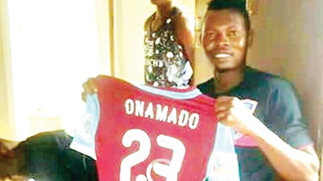 New recruit, Goodluck Onamado displays his FC IfeanyiUbah jersey.