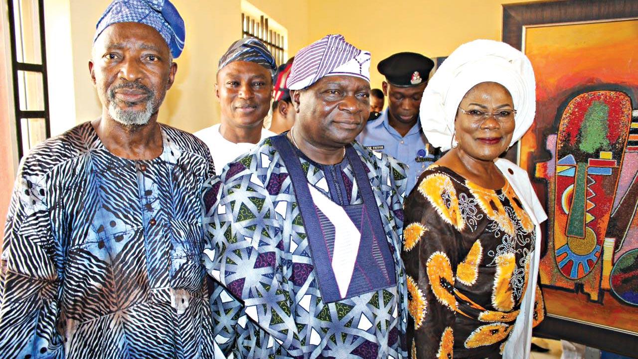 Chief Muraina Oyelami (left); Prince Olagunsoye Oyinlola; and Deputy Governor, Mrs. Titilayo Tomori