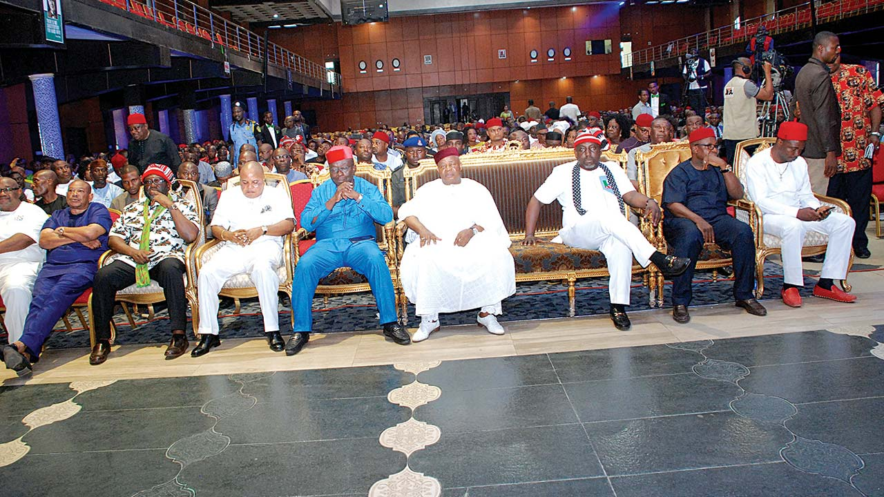 Imo State Governor Rochas Okorocha (third right), Senator Ken Nnamani (fourth right), Deputy Governor Eze Madumere (second left), Senator Ifeanyi Araraume (third left), Dr. Jumbo Ofo (fourth left), Imo House of Assembly Speaker, Acho Ihim (fifth left), businessman, Chief Emeka Ofor (right) andparty's stalwart, Dr. Ebuka Onunkwo (second right), during the All Progressives Congress (APC) South-East stakeholders' meeting in Owerri…at the weekend.