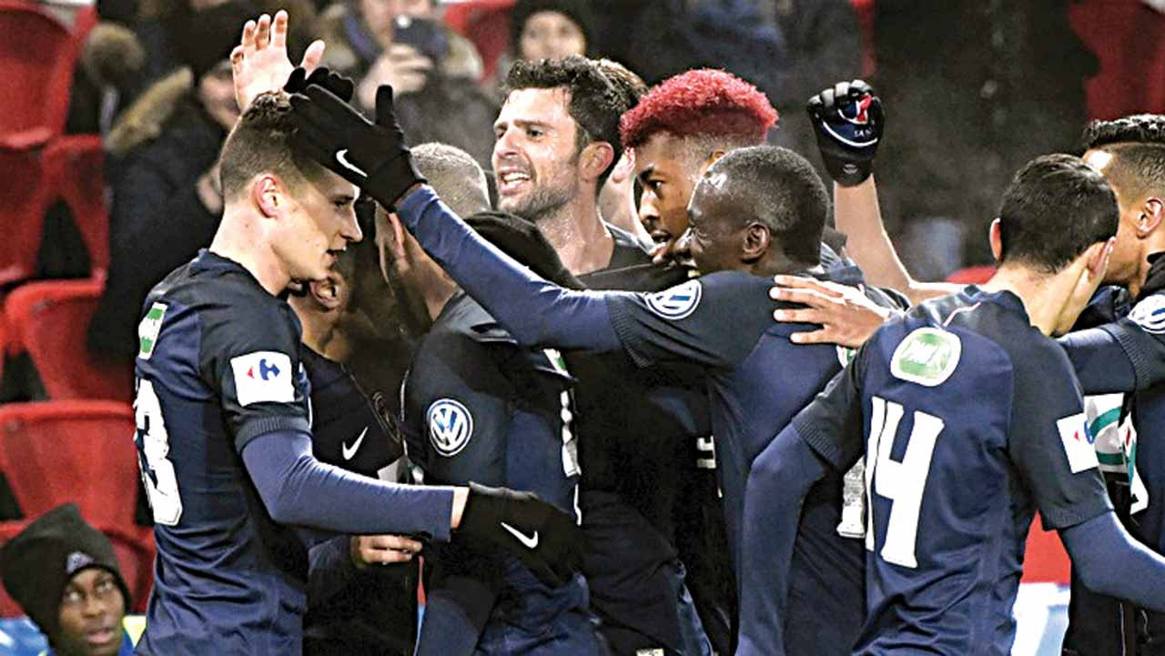 Draxler being congratulated by teammates after goalscoring a goal in his debut match against Bastia…on Saturday.