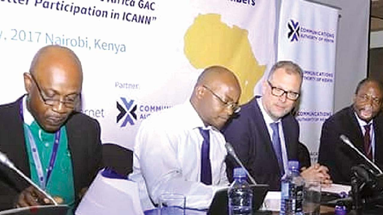 (L-r): Sunday Folayan, president of NIRA; Abdalla Omari, general manager of KeNIC; Goran Marby, president/CEO ICANN and Pierre Dandjinou, ICANN VP-Africa), during the signing of a Memorandum of Understanding between NIRA and Kenictld the managers of .ke ccTLD held at ICANN workshop at Nairobi, Kenya.