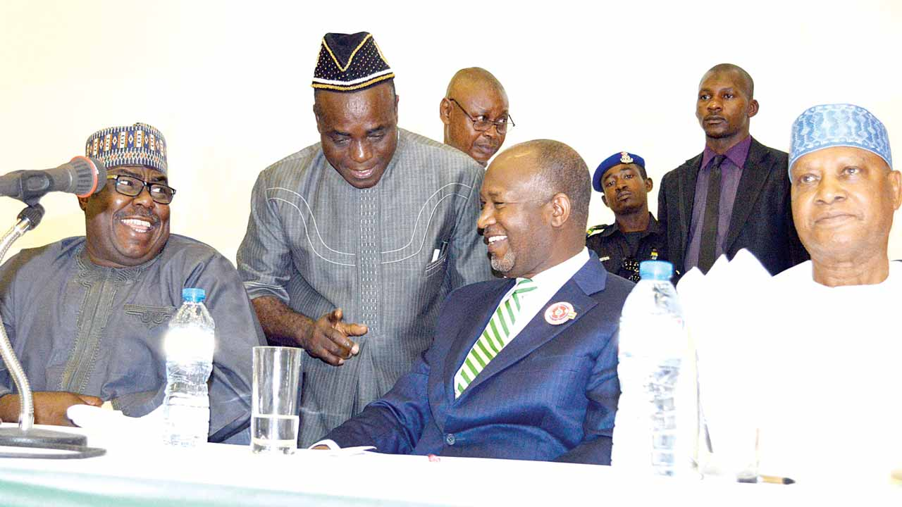 Minister of State for Power, Works and Housing, Alhaji Mustapha Baba-Shehuri (left); Senior Special Assistant to the President on National Assembly Matters (Senate), Ita Enang; Minister of State for Aviation, Hadi Sirika and Chairman, Senate Committee on Security and Intelligence, Shaba Lafiaji; at a special stakeholders' meeting on the temporary closure of Nnamdi Azikiwe International Airport for repairs in Abuja… yesterday.