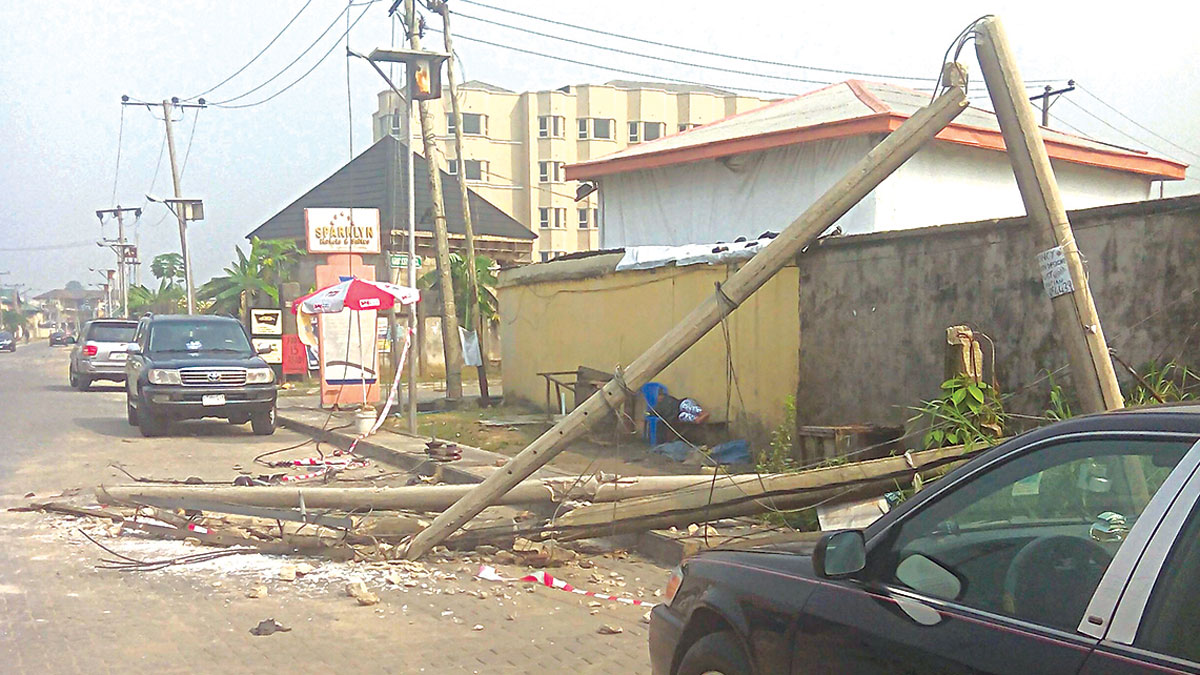 The scene of the fallen electric pole at GRA, Phase 11