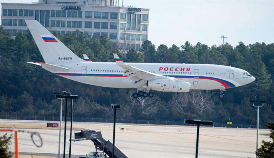 A Russian aircraft, set to pick up Russian diplomats expelled by US President Barack Obama, lands at Dulles International Airport on Dec 31, 2016, in Sterling, Virginia. PHOTO: AFP