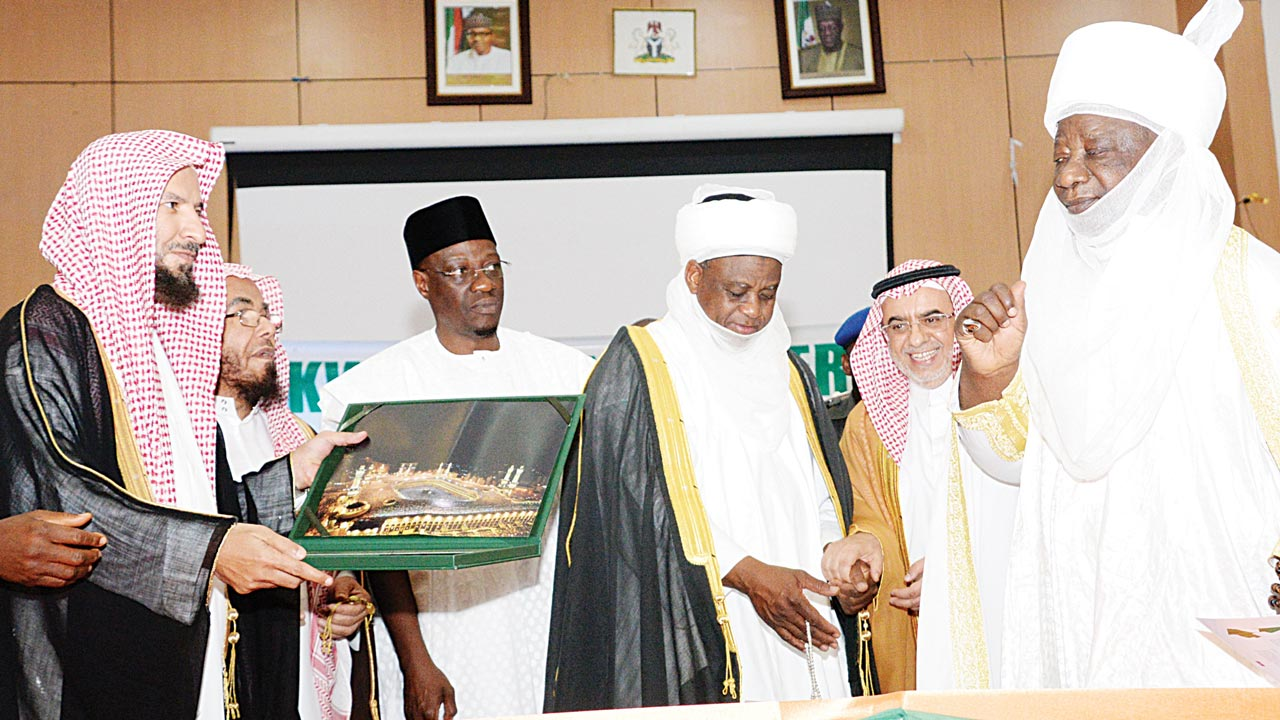 Senior Advisers to King Salman bn Abdulazeez, Kingdom of Saudi Arabia, Sheikh Sa'ad Nasir As-Shathriy (left); Sheikh Abdullah Al-Mutlaq;  Kwara State Governor Abdulfatah Ahmed; President General, Supreme Council for Islamic Affairs, Sultan of Sokoto, Alhaji Muhammadu Sa'ad Abubakar III; Saudi Arabia Ambassador to Nigeria, Fahad Abdullah and Emir of Ilorin, Alhaji Ibrahim Sulu Gambari at a two-day International Conference on Security and Peaceful Co-existence in Nigeria at Ilorin...yesterday. PHOTO: KWARA STATE GOVT HOUSE.