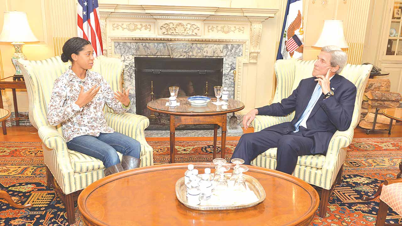 Zuriel Oduwole during her meeting with outgoing United States Secretary of State, Mr. John Kerry, in Washington DC