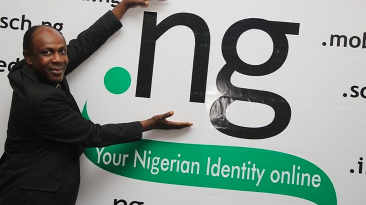 Reverend Sunday Folayan, the President, Executive Board of Directors, Nigeria Internet Registration Association poses with Nigerian domain name .ng