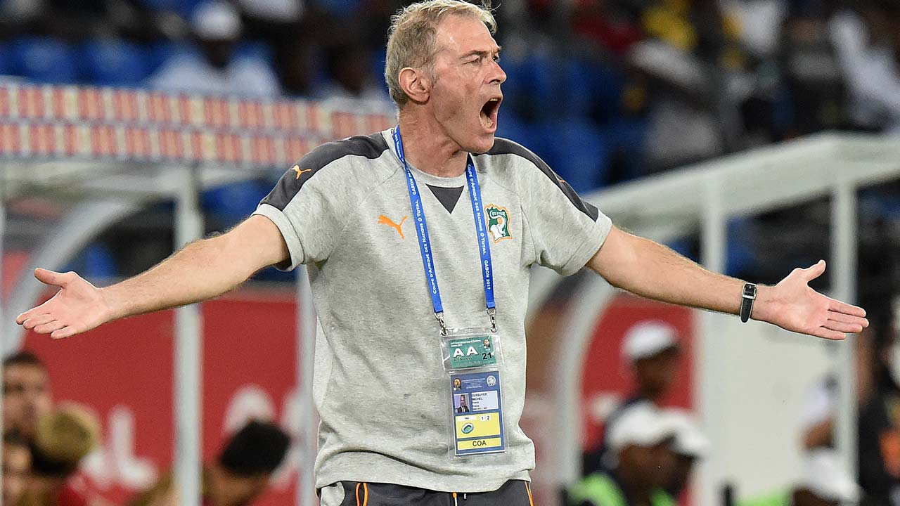 Ivory Coast's French coach Michel Dussuyer reacts during the 2017 Africa Cup of Nations group C football match between Morocco and Ivory Coast in Oyem on January 24, 2017. ISSOUF SANOGO / AFP