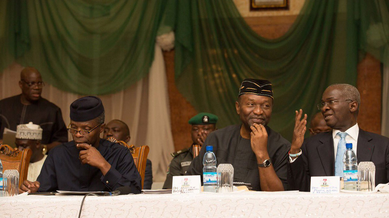 From left, Vice President, Yemi Osinbajo, Minister of Budget and National planning, Udo Udoma and Minister Power, Works and Housing, Raji Fashola at the Second Quarterly Presidential Business Forum in Abuja.