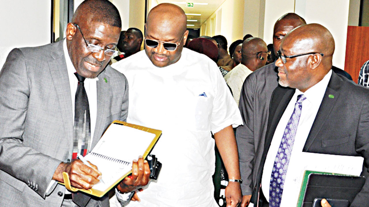 Acting Managing Director, Bank of Industry (BoI), Waheed Olagunju (left); Chairman, Ad hoc Committee on Investigation on the Activities of the Federally Owned Development Financial Institutions, Emeka Anohu and Executive Director, Corporate Services and Commercial, BoI, Jonathan Tobin during an interactive session in Abuja …yesterday. PHOTO: LUCY LADIDI ELUKPO