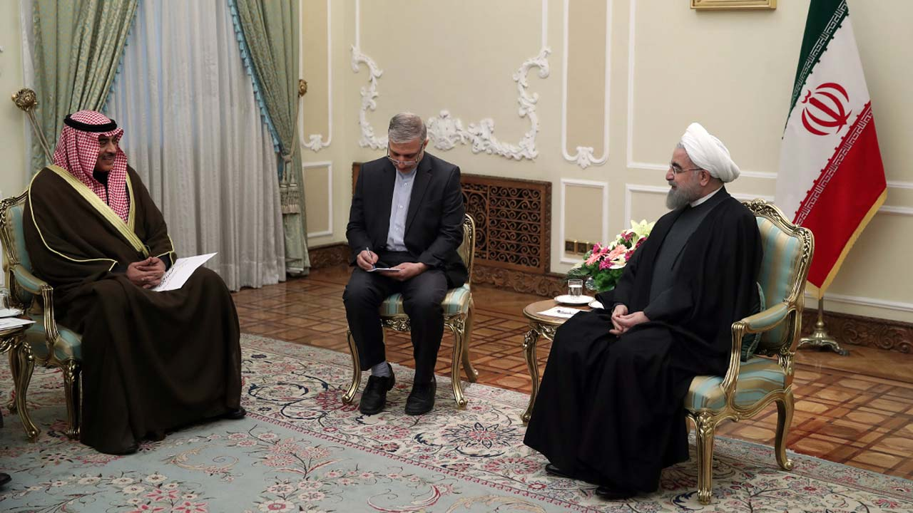 A handout picture provided by the office of Iranian President Hassan Rouhani shows him (R) meeting with Kuwait's Foreign Minister Sabah Al-Khalid Al-Sabah (L) in the capital Tehran, on January 25, 2017. Kuwait's foreign minister said on January 24 he will deliver a letter from the emir on the troubled ties between the Islamic republic and its Arab neighbours in the Gulf. HO / IRANIAN PRESIDENCY / AFP