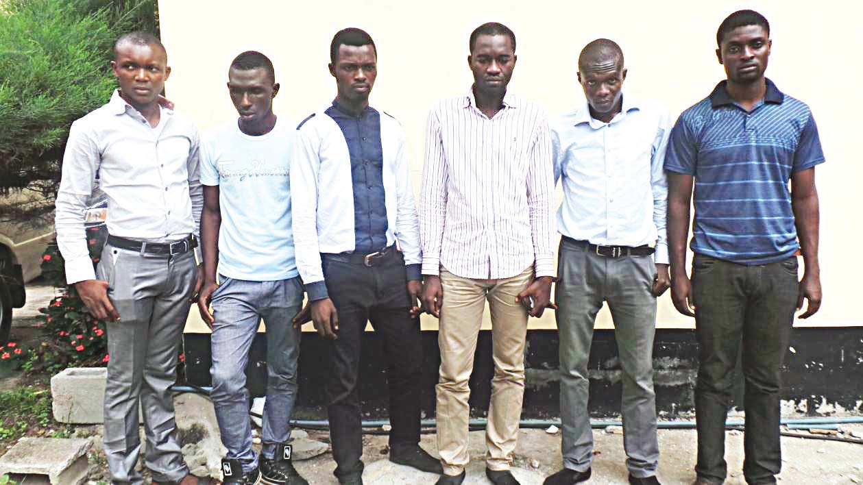Nigerian undergraduates arrested by the anti-graft agency, EFCC in Ibadan, Oyo state capital last year over alleged internet fraud PHOTO: GOOGLE