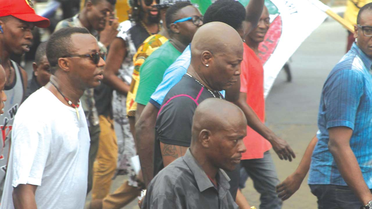 Charly Boy slumps as police dogs attack anti-Buhari protesters