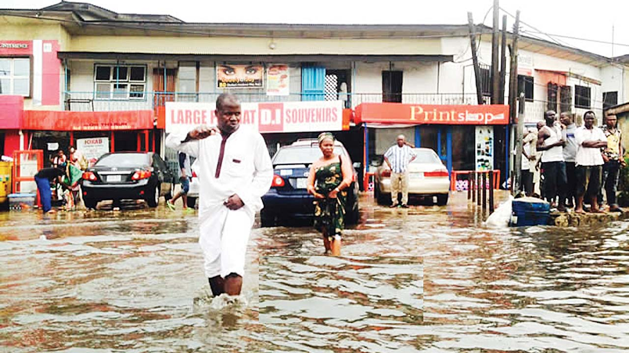 Flooded Obafemi Awolowo Way, Ikeja...yesterday