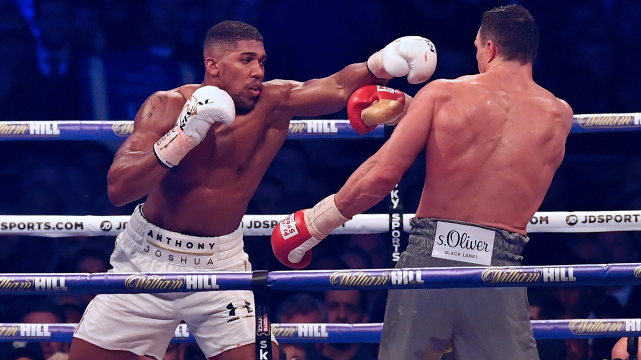 Image result for Anthony Joshua knocks out Klitschko at Wembley to win heavyweight title