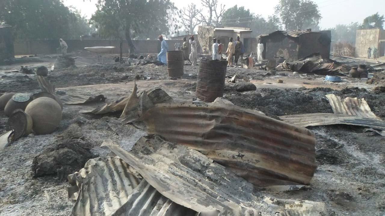 Image result for Three killed, 150 homes razed in Boko Haram raid in Borno