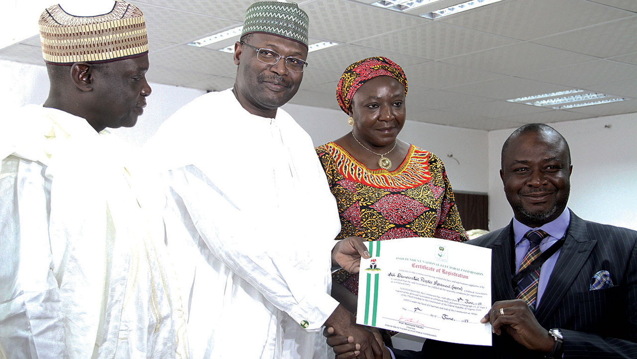 INEC issues certificates to five newly registered parties