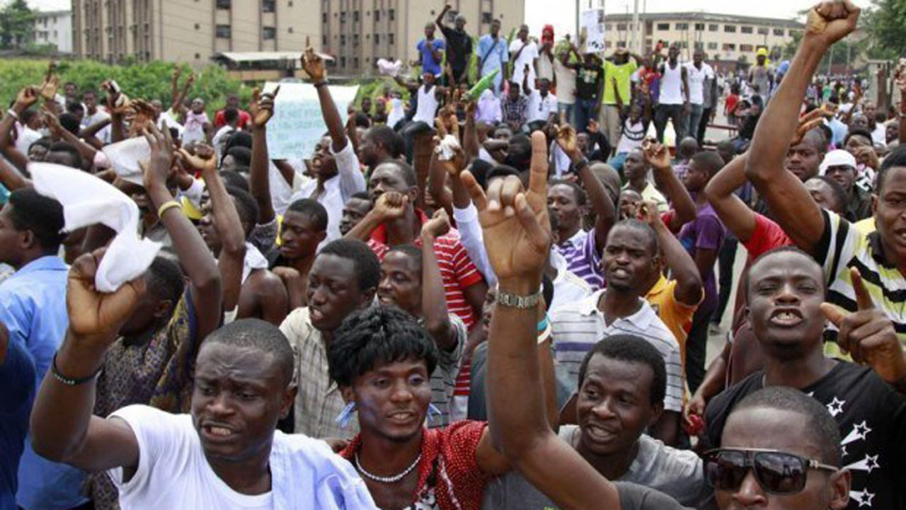 Nigerian students protesting