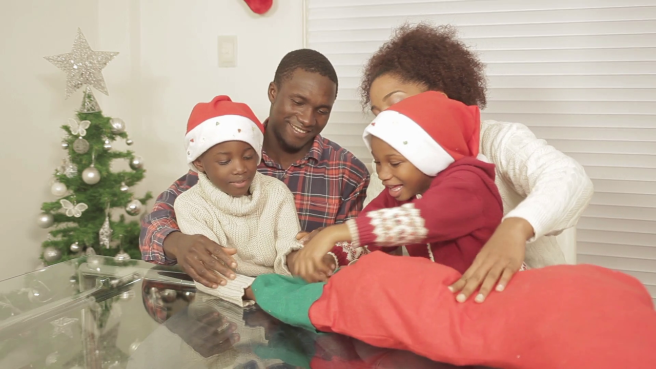 African Kids And American Kids Christmas Presents