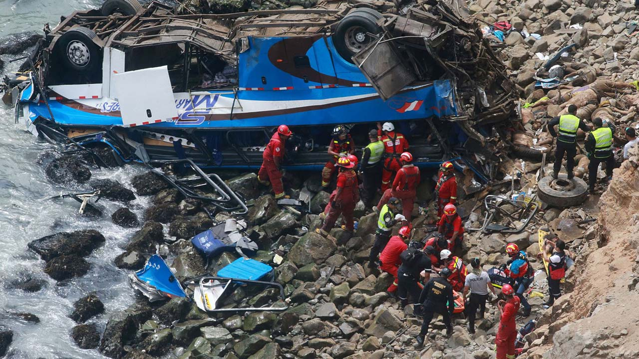 At least 36 dead after bus plunges onto rocky beach in Peru