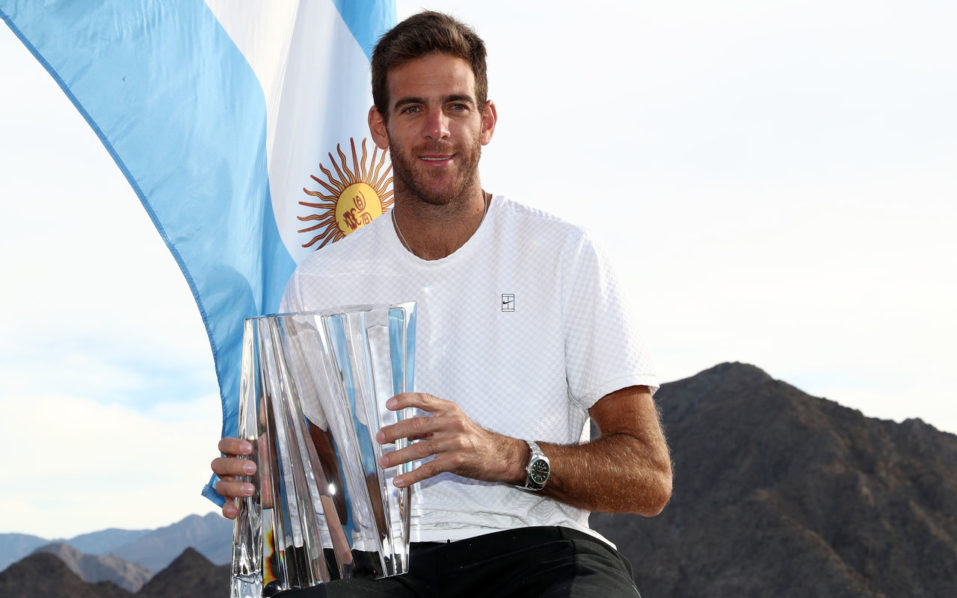 Del Potro celebrates historic win with a splash