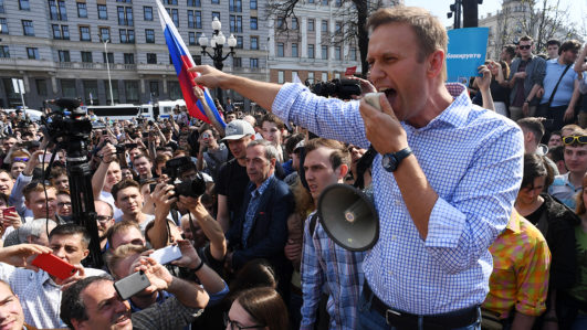 Russian protest leader Navalny detained at anti-Putin rally
