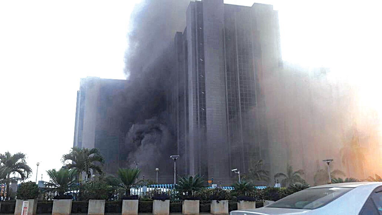CBN says Central Bank of Nigeria's head office not on fire