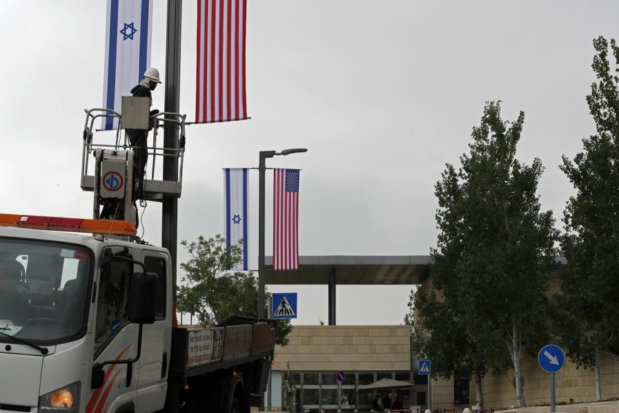 First signs go up for US embassy in Jerusalem | The Guardian