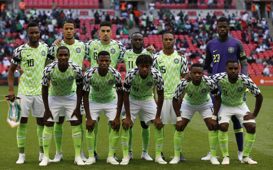 804d5262fba Nigeria team (Back row L-R) Nigeria s midfielder John Obi Mikel