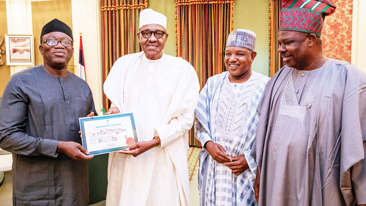 NEWS:Fayemi meets Buhari at presidential villa, denies vote buying