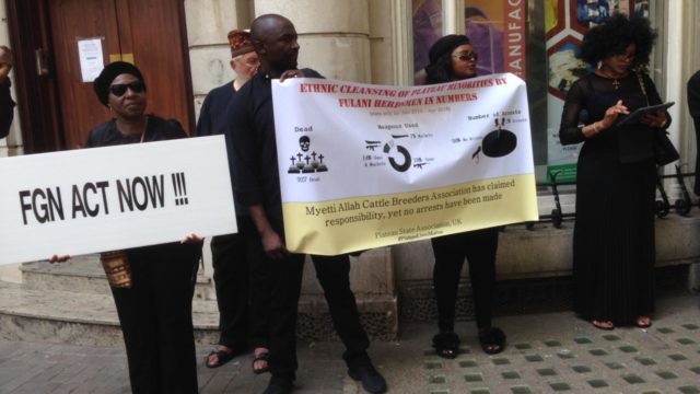 Group protests Plateau killings in London