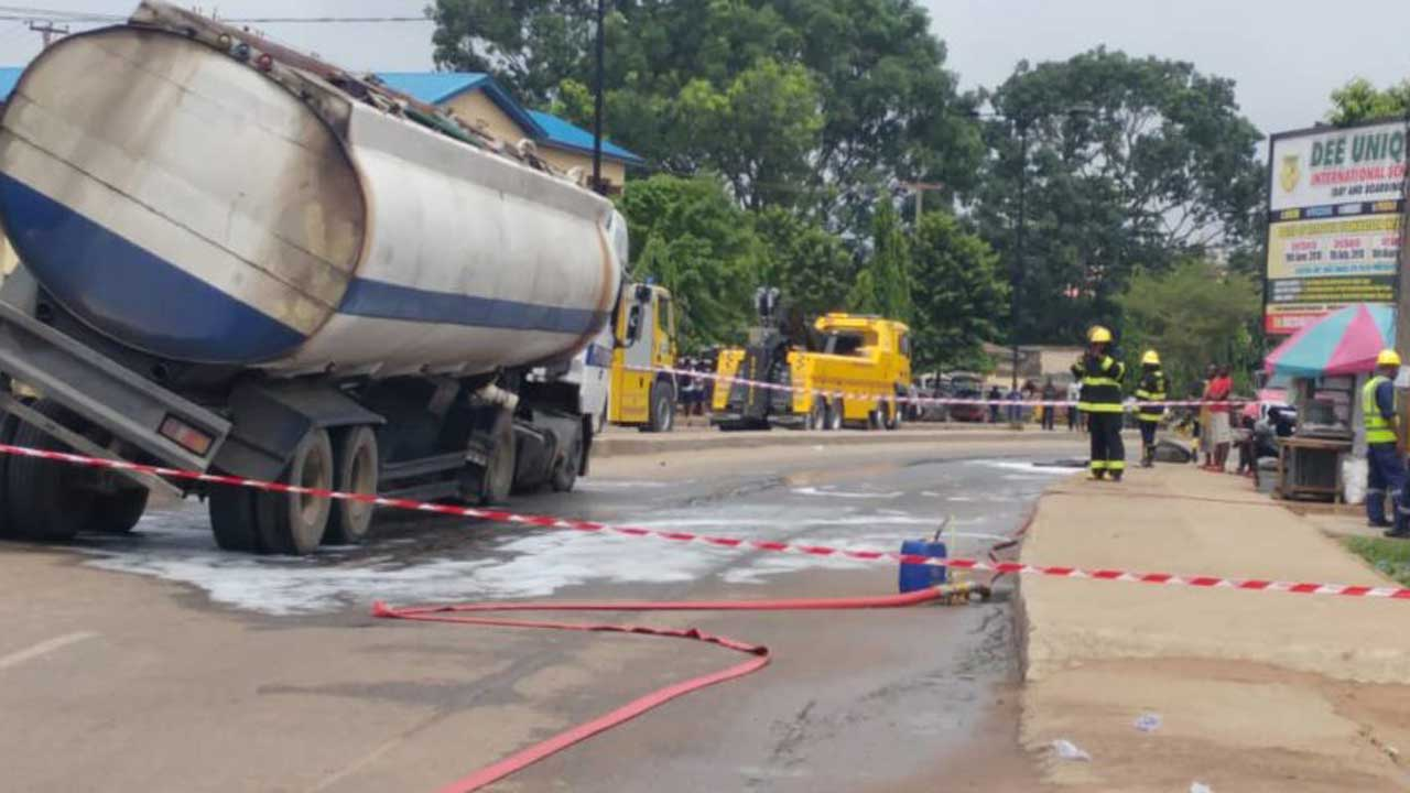 Image result for Vehicle fall along Otedola bridge in Lagos, spills content