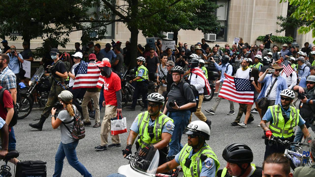 Washington police brace as hundreds protest neo-Nazi marchers