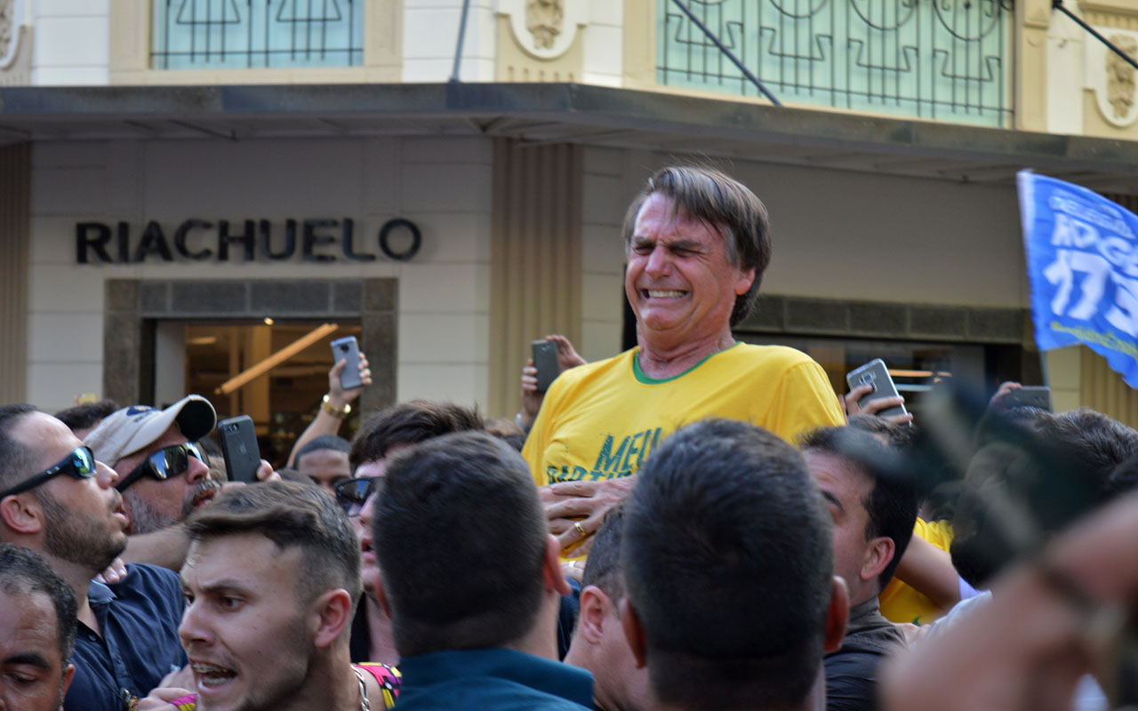 Image result for Assailant stabs Brazilian presidential front-runner, Bolsonaro at rally