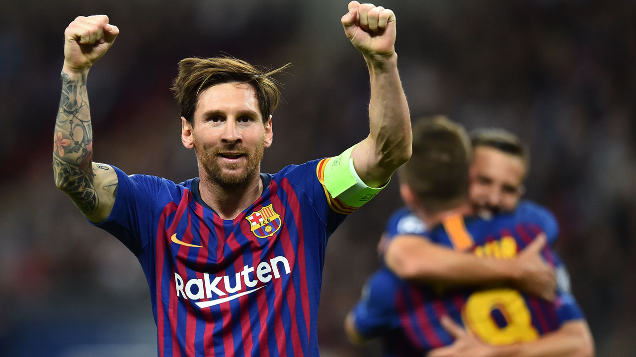 d9dd9ce82 Barcelona s Argentinian striker Lionel Messi celebrates after scoring their  third goal during the Champions League group B football match match between  ...