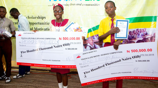 Touch-A-Life gives scholarship to indigent students in public schools