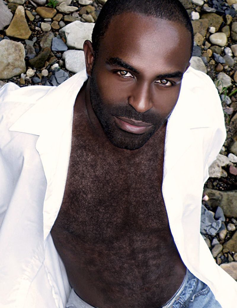 Black model with chest hair