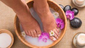 Soaking feet in water