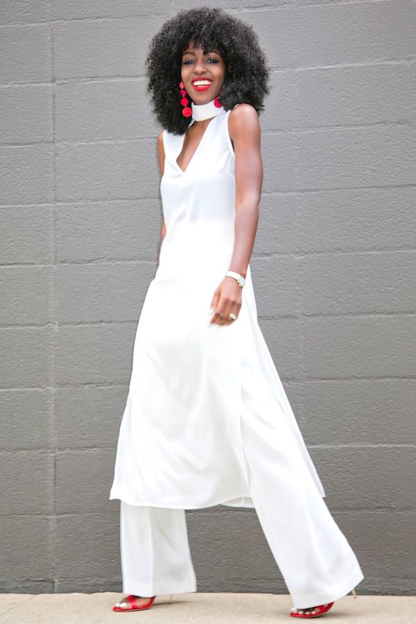 A model wearing all white attire