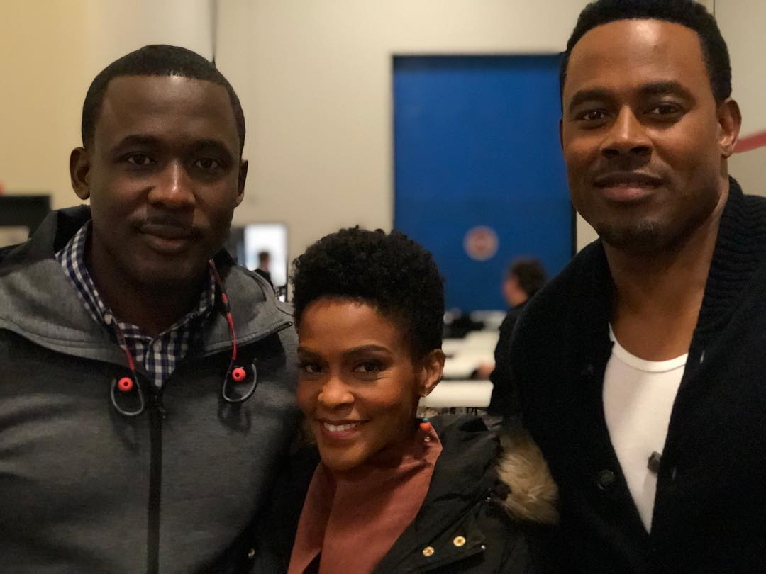 Joseph Benjamin with co stars Jim Hawthorne and Lamman Rucker at Greenleaf set