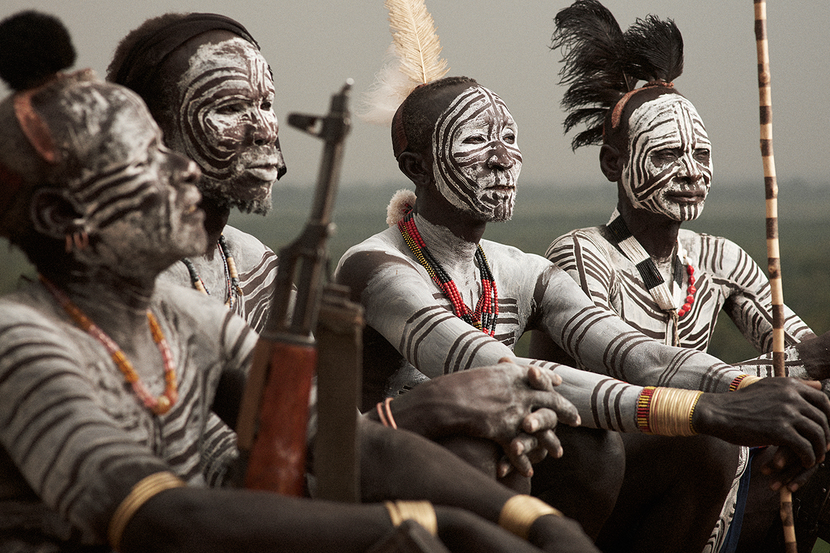 Karo indigenes paint their bodies with a mixture of white chalk