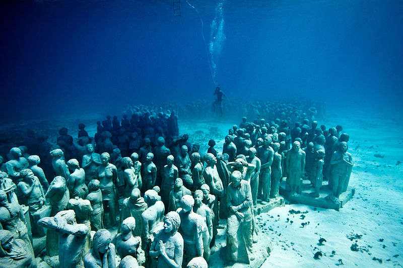 Underwater statues in Cancun. Photo: destinationdevelopmentwatch
