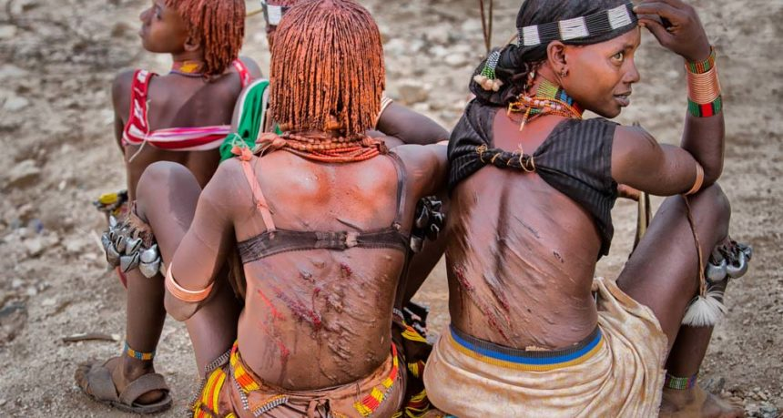 Women offer themselves to be whipped by men in Hamer tribe