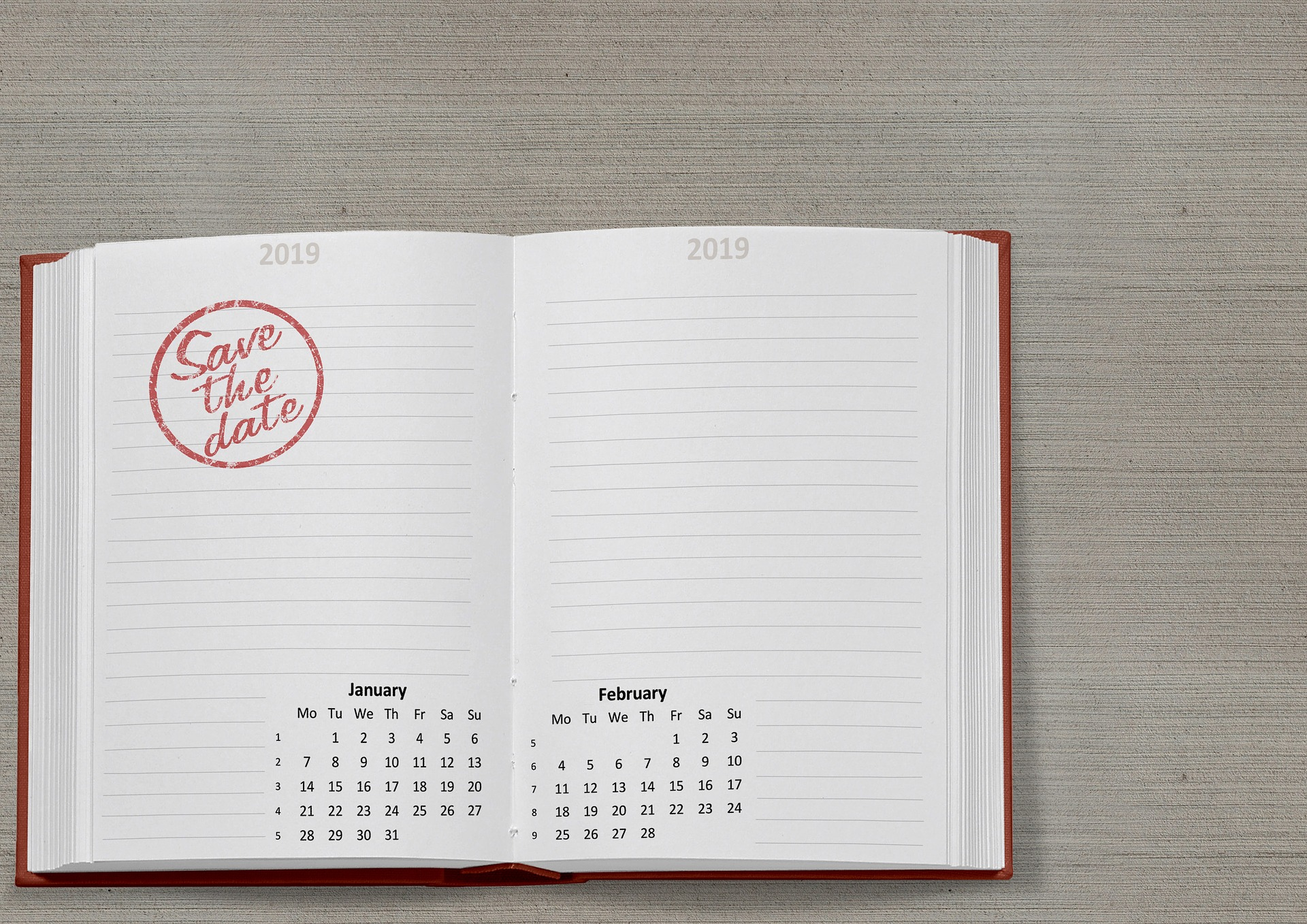 A diary showing 2019 calendar